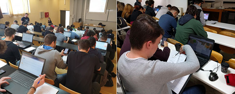 Students evaluating high and low fidelity prototypes of the website during the 4th year HCI course, 2019 and 2018.