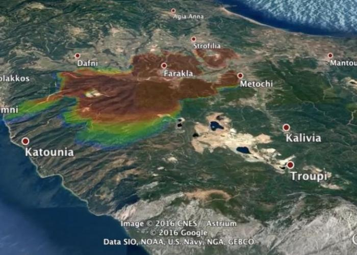 FLogA tool for simulation and geo-animation of wildfires